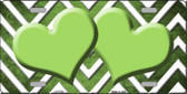 Lime Green White Hearts Chevron Oil Rubbed Wholesale Metal Novelty License Plate