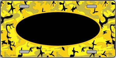 Pattern Yellow Black Camouflage With Black Center Oval Wholesale Metal Novelty License Plate