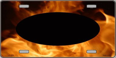 Pattern Real Flame With Black Center Oval Wholesale Metal Novelty License Plate