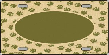 Pattern Paw Background With Center Oval Wholesale Metal Novelty License Plate