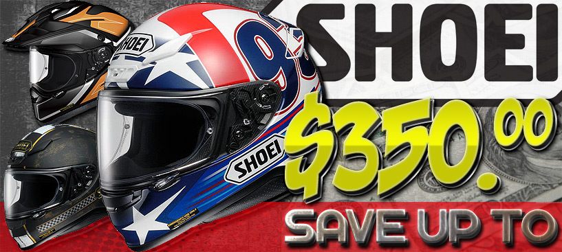 SAVE Up To $350 on Shoei Helmet Closeouts from STG