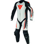 Dainese Assen One Piece Perforated Leather Suit White/Black/Fluorescent Red