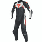 Dainese Avro D2 Two Piece Leather Suit Black/White/Fluorescent Red