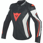 Dainese Women's Assen Leather Jacket Black/White/Fluorescent Red