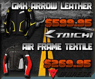 Taichi GMX Arrow Leather Jacket and Dainese Air-Frame Textile Jacket