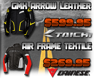 Taichi GMX Arrow Leather Jacket and Dainese Air-Frame Textile Jacket