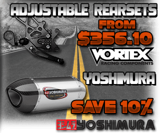 Vortex Rearsets and Yoshimura Parts Sale
