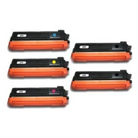 Remanufactured Brother TN310 Toner Cartridges Set of 5 (2 Black 1 each Cyan, Yellow, Magenta)