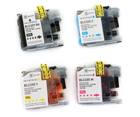 Compatible Brother Set of 4 Extra High Yield Ink Cartridge (LC207BK, LC205C, LC205M, LC205Y)