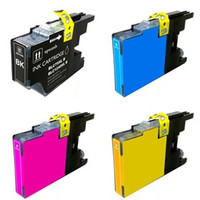 Compatible Brother LC75 Set of 4 High Yield Ink Cartridges: 1 each of Black, Cyan, Yellow, Magenta