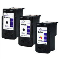 Compatible Canon PG-210, CL-211 Set of 3 Ink Cartridges: 2 Black & 1 Color