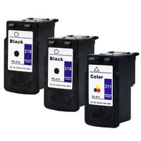 Compatible Canon PG-210, CL-211 Set of 3 Ink Cartridges: 2 Black & 1 Color