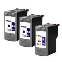 Compatible Canon PG-40, CL-41 Set of 3 Ink Cartridges: 2 Black & 1 Color
