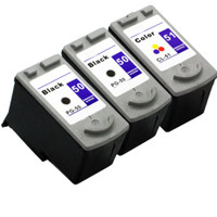 Compatible Canon PG-50, CL-51 Set of Ink Cartridges: 2 Black & 1 Color