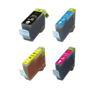 Compatible Canon PGI-9 Set of 4 Ink Cartridges: 1 each of Black, Cyan, Yellow, Magenta