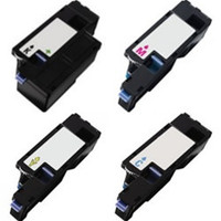 Compatible Dell 1250/1350 Color Laser Series Set of 4 High Capacity Laser Toner Cartridges: 1 each of Black, Cyan, Yellow, Magenta