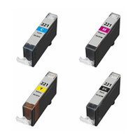 Compatible Canon CLI-221 Set of 4 Ink Cartridges: CLI-221BK, CLI-221C, CLI-221M, CLI-221Y