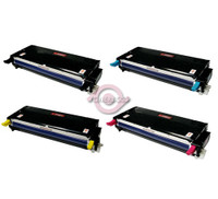 Remanufactured Dell 3110cn Series - Set of 4 High Yield Laser Toner Cartridges: 1 each of Black, Cyan, Yellow, Magenta