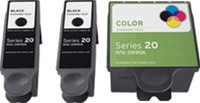 Remanufactured Dell Series 20 Set of 3 Ink Cartridges: 2 Black & 1 Color