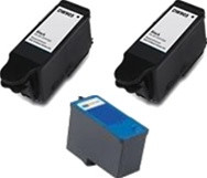 Remanufactured Dell Series 7 Set of 3 High Yield Ink Cartridges: 2 Black & 1 Color
