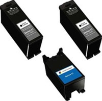 Remanufactured Dell Series 22 Set of 3 High Yield Ink Cartridges: 2 Black & 1 Color