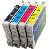Remanufactured Epson Stylus CX4800 - Set of 4 Ink Cartridges: 1 each of Black, Cyan, Yellow, Magenta