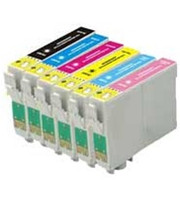 Remanufactured Epson Artisan 50 - Set of 6 Ink Cartridges: 1 each of Black, Cyan, Yellow, Magenta, Light Cyan, Light Magenta