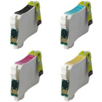 Remanufactured Epson WorkForce 60 (Epson T126) - Set of 4 High Capacity Ink Cartridges: 1 each of Black, Cyan, Yellow, Magenta