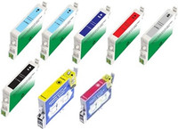 Remanufactured Epson Stylus Phoro R1800 Set of 8 Ink Cartridges: 1 each of Gloss Optimizer, Photo Black, Cyan,Magenta, Yellow, Red, Matte Black, Blue