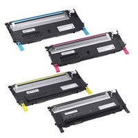 Compatible Dell 1230c/1235c Set of 4 Laser Toner Cartridges: 1 each of Black, Cyan, Yellow, Magenta