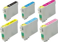Remanufactured Epson Stylus Photo 1400 Set of 6 High Yield Ink Cartridges: 1 each of Black, Cyan, Yellow, Magenta, Light Cyan, Light Magenta