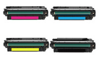 Compatible HP 646X, 646A Set of 4 Laser Toner Cartridges: 1 each of Black, Cyan, Yellow, Magenta