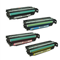 Remanufactured HP Color LaserJet CM3530, CP3525 Series - Set of 4 HP 504A Toner Cartridges: 1 each of Black, Cyan, Yellow, Magenta