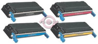 Remanufactured HP Color LaserJet 5500, 5550 Series - Set of 4 HP 645A Toner Cartridges: 1 each of Black, Cyan, Yellow, Magenta
