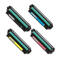 Remanufactured HP M755 (HP 651A) Set of 4 Laser Toner Cartridges: 1 each of Black, Cyan, Yellow, Magenta