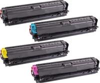 Remanufactured HP CP5225 Set of 4 Laser Toner Cartridges: 1 each of Black, Cyan, Yellow, Magenta