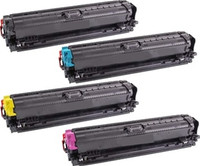 Remanufactured HP CP5225 Set of 4 Laser Toner Cartridges: 1 each of Black, Cyan, Yellow, Magenta