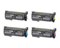 Remanufactured HP 652A, 653A  - Set of 4 Laser Toner Cartridges: 1 each of Black, Cyan, Yellow, Magenta