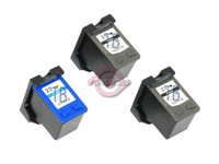 Remanufactured HP C9351AN,C9352AN - Set of 3 Ink Cartridges: 2 Black, 1 Color