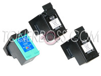 Remanufactured HP C9362WN,C9361WN - Set of 3 Ink Cartridges: 2 Black, 1 Color
