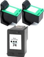 Remanufactured HP 74/75 Set of 3 Ink Cartridges: 2 Black & 1 Color