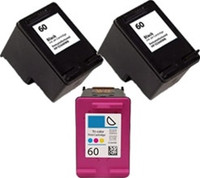 Remanufactured HP 60XL Set of 3 High Yield Ink Cartridges: 2 Black & 1 Color
