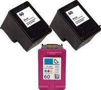 Remanufactured HP 901 Set of 3 High Yield Ink Cartridges: 2 Black & 1 Color