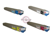 Remanufactured Okidata C9600n, C9800 Series - Set of 4 Laser Toner Cartridges: 1 each of Black, Cyan, Yellow, Magenta