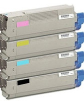 Remanufactured Okidata C6100 Series - Set of 4 Laser Toner Cartridges: 1 each of Black, Cyan, Yellow, Magenta