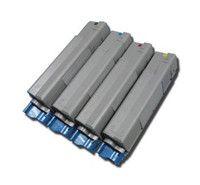 Remanufactured Okidata C6000 Series - Set of 4 Laser Toner Cartridges: 1 each of Black, Cyan, Yellow, Magenta