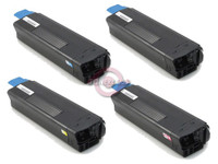 Remanufactured Okidata C5200 Series - Set of 4 Laser Toner Cartridges: 1 each of Black, Cyan, Yellow, Magenta