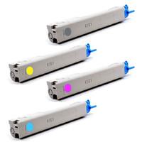 Remanufactured Okidata C3400n Series - Set of 4 Laser Toner Cartridges: 1 each of Black, Cyan, Yellow, Magenta