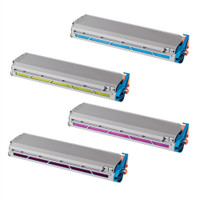 Remanufactured Okidata C9300, C9500 Series - Set of 4 Laser Toner Cartridges: 1 each of Black, Cyan, Yellow, Magenta