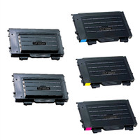 Toner Cartridges Compatible with Samsung CLP-500, CLP-550 Series - Set of 5 Laser Toner Cartridges